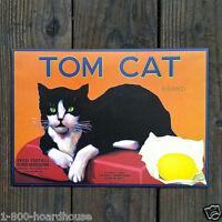 3 Original TOM CAT Citrus Crate Box Labels 1970s Reproduction LEMON Label NOS