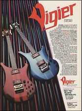 Vigier electric guitars 1986 ad 8 x 11 guitar advertisement ready to frame