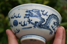 Antique Chinese Porcelain Blue and White Dragon Bowl - Marks