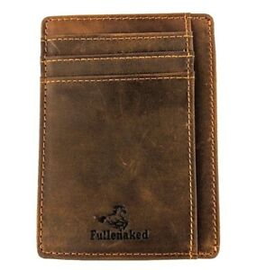 Fullenaked Minimalist Wallets Brown Genuine Crazyhorse Leather New