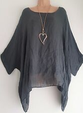 New  Italian Lagenlook Charcoal Grey Loose Kaftan  Tunic Top  uk 18 20 22 24