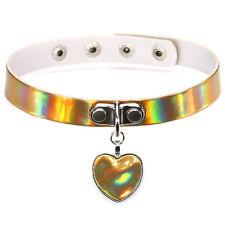 PU Leather Pendant Holographic Rainbow Choker Heart Metal Laser Collar Chocker