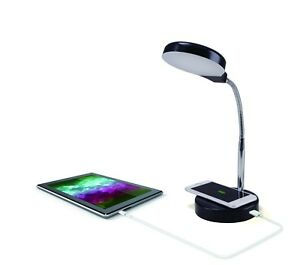 LED Desk Lamp with Qi Wireless Charging and USB Port Touch Activated Black