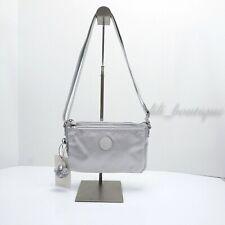 NWT New Kipling KI0553 Mikaela Crossbody Shoulder Bag Polyamide Nylon Silver $54