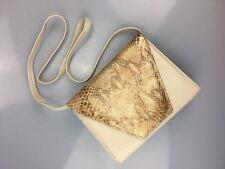 3 ~ Handbag ~ Snakeskin Print ~ Square ~ Shoulder Bag ~ Detachable Strap ~ Beige