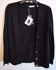 Lady Hathaway Ladies Extra Fine Italian Merino Wool Cardigan Black Size Large