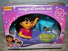 DORA & FRIENDS MAGICAL SMILE SET TOOTHBRUSH WITH HOLDER & RINSE CUP - NEW