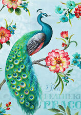 Peacock Garden Flowers Bird Botanical French Provincial Painting Canvas Print
