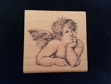 THINKING ANGEL Comotion Rubber Stamp CHERUB Baby Cupid CELESTIAL Being Heaven