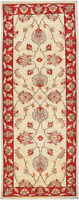 2X6 Hand-Knotted Oushak Carpet Traditional Ivory Fine Wool Runner Rug D43791