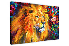 AT54378D Lion By Leonid Afremov Framed Canvas Wall Art Pictures Deco Prints