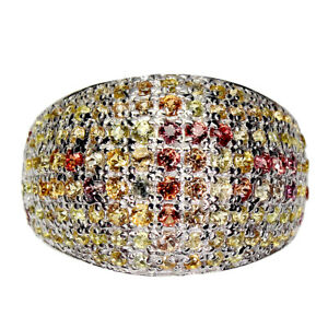 Multi Color Sapphire Round Diamond Cut White Gold Plate 925 Sterling Silver Ring