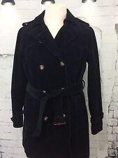 LL BEAN Blue Corduroy Pea Coat Style Belted Mid Weight Trench Coat Women's XL