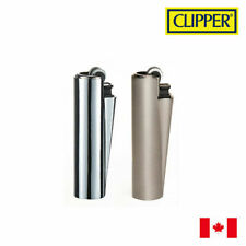 Clipper Silver Classic Metal Cover Refillable Lighter x 2