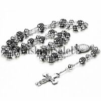 Men's Silver Stainless Steel Cross Jesus Christ Pendant Necklace Link Bead Chain