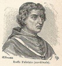 A7088 Cardinale Ruffo Fabrizio - Stampa Antica del 1930 - Xilografia