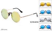 Round John Lennon Sunglasses Flash Lens Nose Support Old Fashion Vintage Fine UV