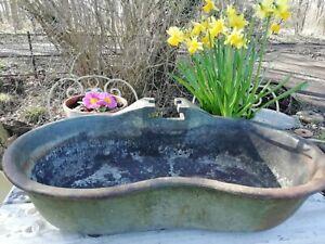 Antique Cast Iron Animal Feeder Water Trough Garden Flower Planter Bird Bath 9Kg