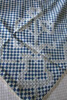Antique French Beautiful Blue White Checked Embroidered table runner c1920