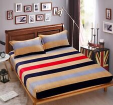 Coloured Single Fitted Fleece Bed Sheet Mattress Cover Coverlet Bedding 1.5*2M #