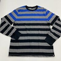 Hawk Waffle Knit Shirt Men's Large Long Sleeve Gray Black Blue Striped Crew Neck