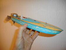 Canot Hors-Bord  tôle 31 cm Jouets Mont-Blanc genre cyclone MAIS litho bleue
