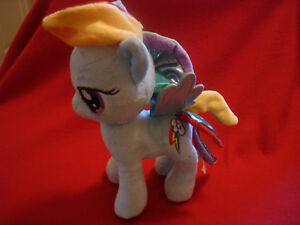 "2013 Aurora Hasbro 10"" My Little Pony Rainbow Dash Blue Plush with Blue Wings"