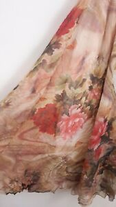 Vintage Boho Floral Cotton Maxi Skirt Size 12/14 Hippie Gypsy Peasant Prairie