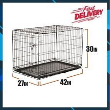 """Dog Crate Kennel Folding Pet Cage Metal Xl Single Door - Size 42""""H"""