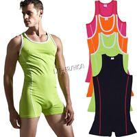Men's Bodysuit Wrestling Singlet Jumpsuit Underwear Leotard Gym Fitness Bodysuit