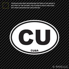 Cuba Oval Sticker Die Cut Decal Cuban Country Code euro CU v3