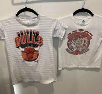 Vintage Chicago Bulls 1997 NBA Champions T Shirt YOUTH L Jordan Pippen Lot of 2