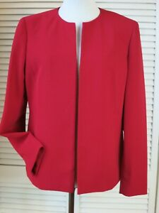 KASPER Size 6  Red Open Front Business Blazer Jacket Crepe Long Sleeve Excellent