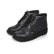 Kickers Kick Hi Black Leather Back to School Shoes in Men's Sizes