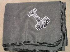 Thors Hammer Silver on Gray Design Fleece Blanket
