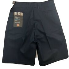 Dickies Boys Navy Pleat Front Relaxed Fit Uniform Shorts, Size 8H/25W
