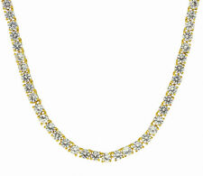 """1 Row AAA Simulated Diamond Chain 14k Gold Plated 30"""" 4mm High Quality Necklace"""