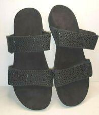"""Vionic Black Studded Embellished Sandal Slides """"Samoa"""" Size 8 Excellent"""