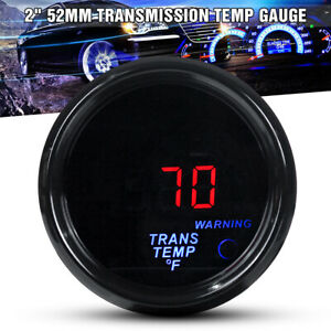 "2"" 52mm Electronic Transmission Trans Temp Gauge Kit Digital LED 1/8NPT Sensor"