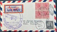 1929 Nassau Bahamas First Flight Airmail Cover FFC To Miami FL USA FAM 7
