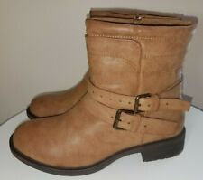 New Womens Short STRAPPY CAMEL Brown BOOTS - Size 9.5 Low Heel Zipper Buckles