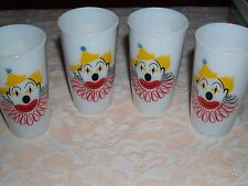 Hazel Atlas Vintage Milk glass with clowns painted on two sides Set of 4