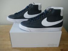 "Nike Blazer Mid 77 Vintage- Men's ""Old School"" Shoes. Premium leather Blue."