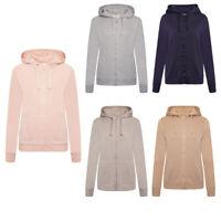 Ladies Hoodies Plain Zip-Up Sweatshirt Women Hooded Casual Jacket Tops
