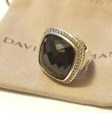 David Yurman Sterling Silver Albion 20mm Black Onyx & Diamond Ring Size: 8