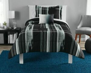 Mainstays Modern Plaid Bed in a Bag Bedding Set, Black, Queen