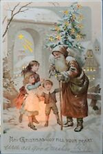 Hold To Light HTL Brown Suited Santa Claus Christmas Postcard