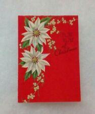 Vintage Christmas Card - White Poinsettia, Berries - Envelope - Rust Craft