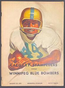 1959 Winnipeg Stadium Program Blue Bombers Vs Calgary Stampeders CFL Football
