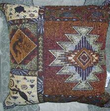 New Southwest Kokopelli Lizard Turtle Tapestry Throw Gift Pillow 17x17 NIP Brown